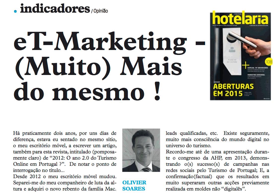 Artigo publicado na revista Hotelaria da Publituris - Olivier soares da HDS Hotel Digital Strategy